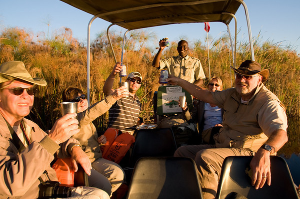 Sundowners on the Okavango Delta, Botswana. Pula!